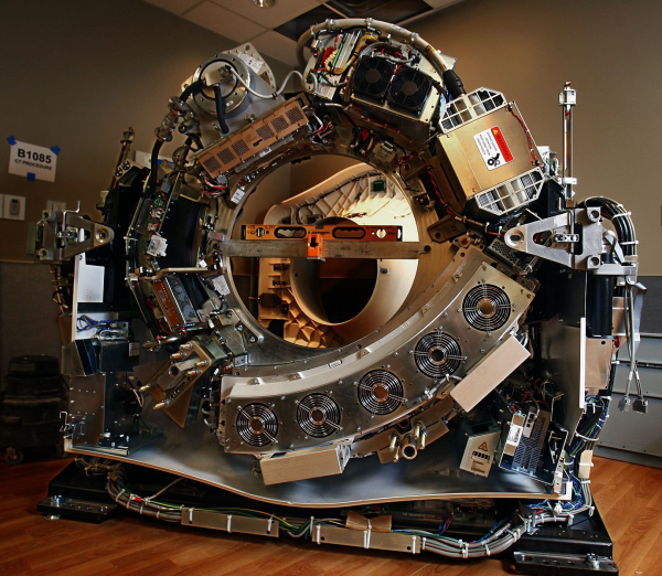 A Johnson Level box level is used to ensure the construction accuracy of a CT scanner.