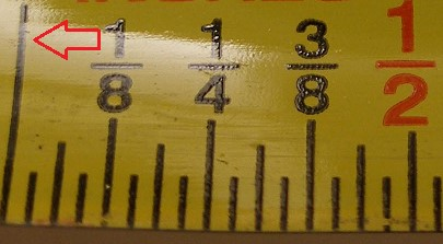inch tape showing half inch