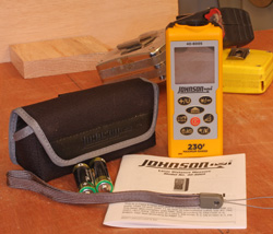 The 40-6005 Laser Distance Measure can measure up to 230-ft. fast and accurately and can measure from the front of the measuring tool, the back of the measuring tool and the back of the extender.