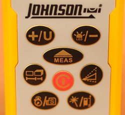 The blister buttons on Johnson's Laser Distance Measure keep the unit free from dirt and make it easy to preform many of the features of this measuring tool.